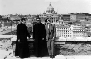 St Josemaria with Fr. Pedro Casciaro and Mr. Martínez