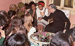 San Josemaria with a group of women of Opus Dei.