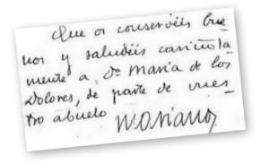 Autografo di san Josemaría: lettera a Dolores Fisac