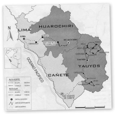 Mappa della prelatura di Yauyos