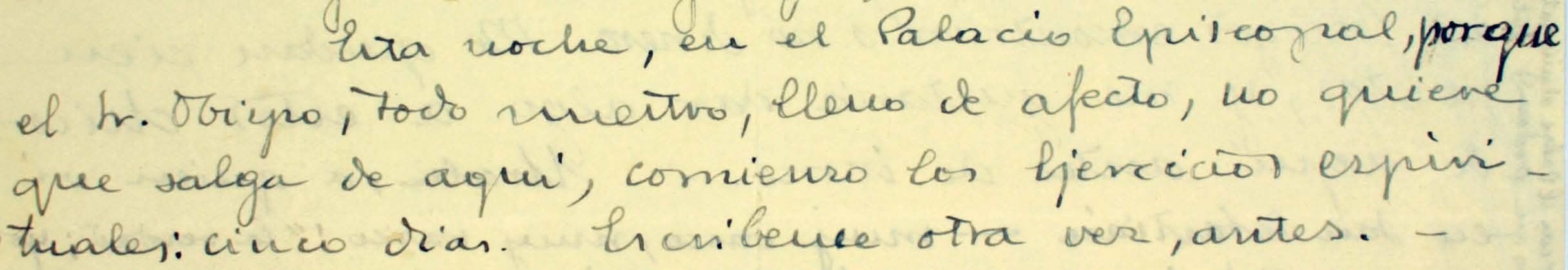Letter of St Josemaria Escrivá to Juan Jiménez Vargas (18-12-1937) in which he mentions the spiritual exercises he did in Pamplona, after the march through the Pyrenees.
